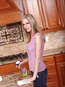 Skinny blonde housewife cleaning and getting naked in the kitchen